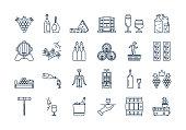 04 Outline WINE PRODUCTION icon set