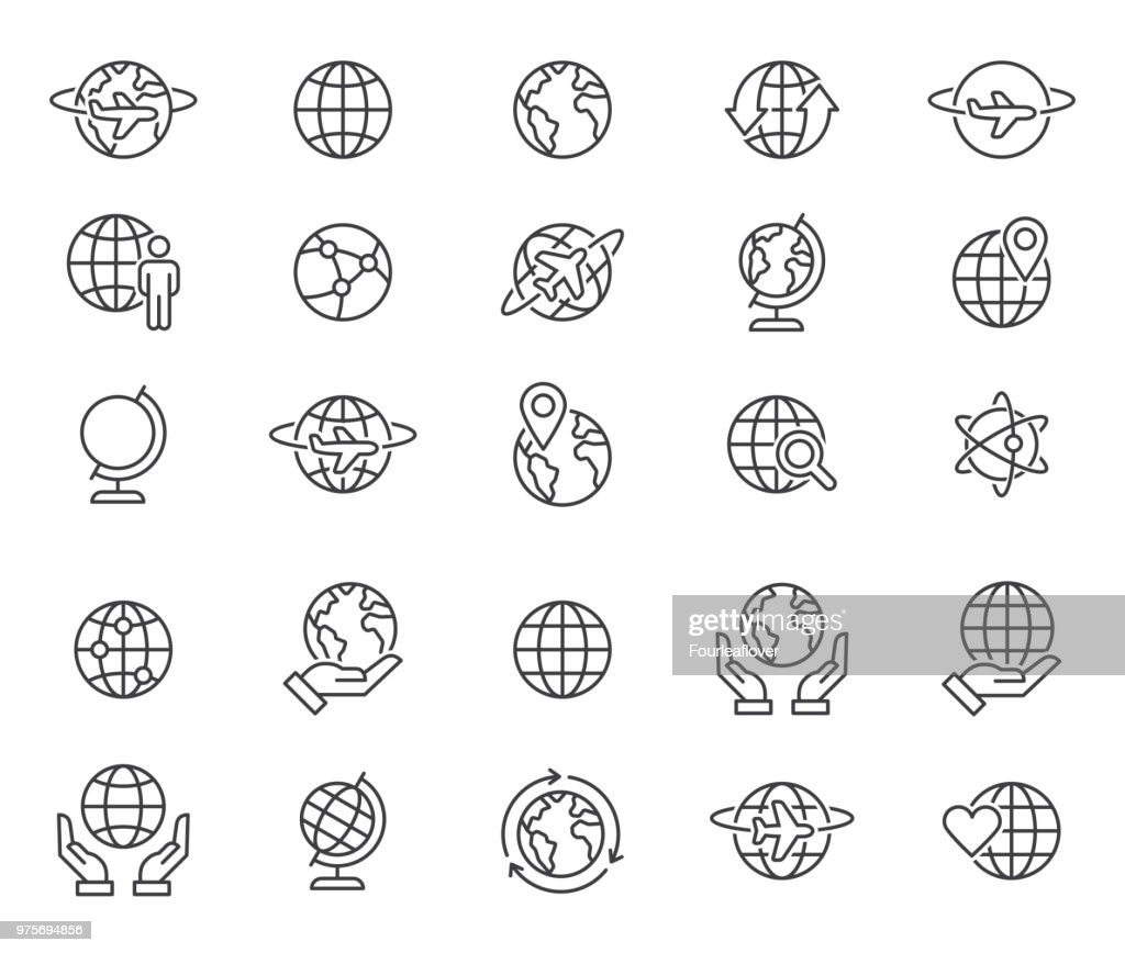 Outline world globes icons set
