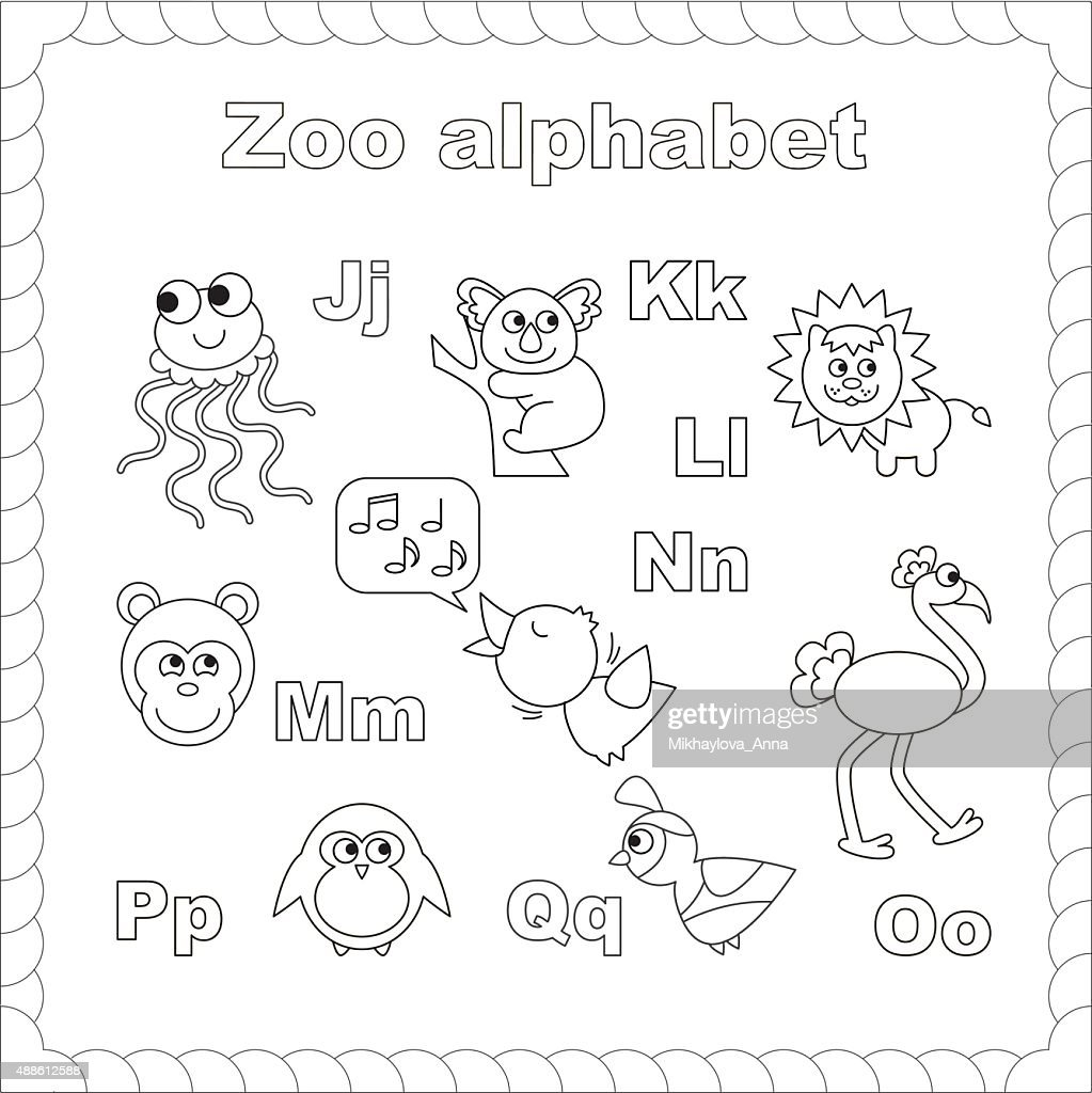 Outline zoo alphabet to be colored