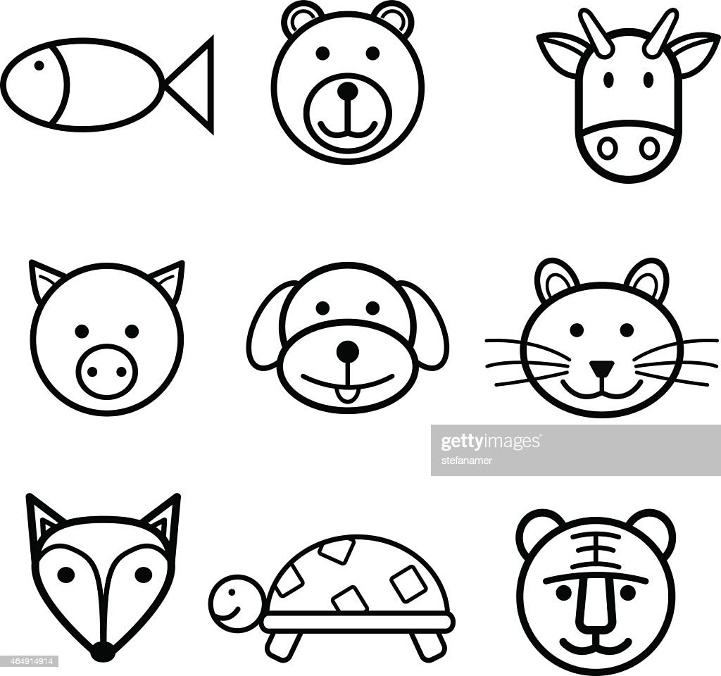 Outlined animals, simple icons set