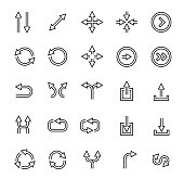 Outlined arrows vector icon set