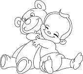 Outlined baby hug bear