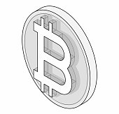 Outlined bitcoin coin mark in isometric perspective. Symbol of cryptocurrency, cloud mining brand.