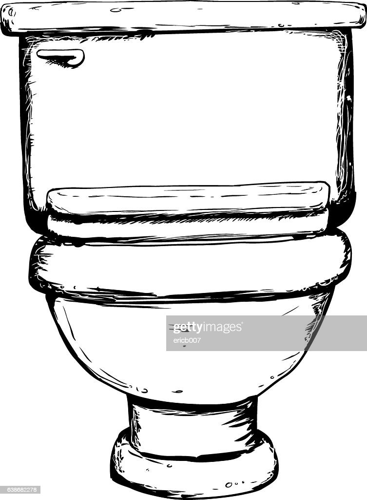 Outlined closed toilet illustration