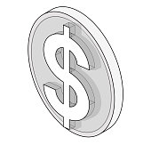 Outlined dollar vector coin in isometric perspective. Three dimensional symbol, buck mark.
