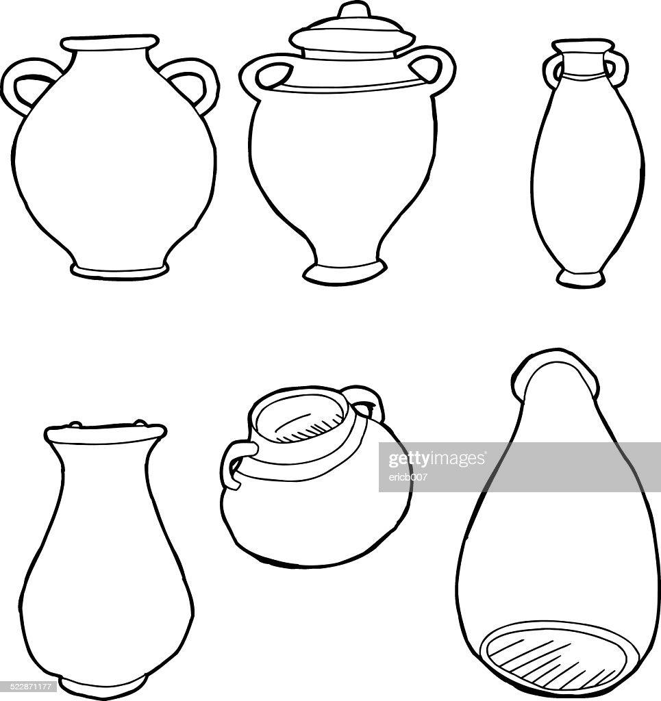 Outlined Greek Vases
