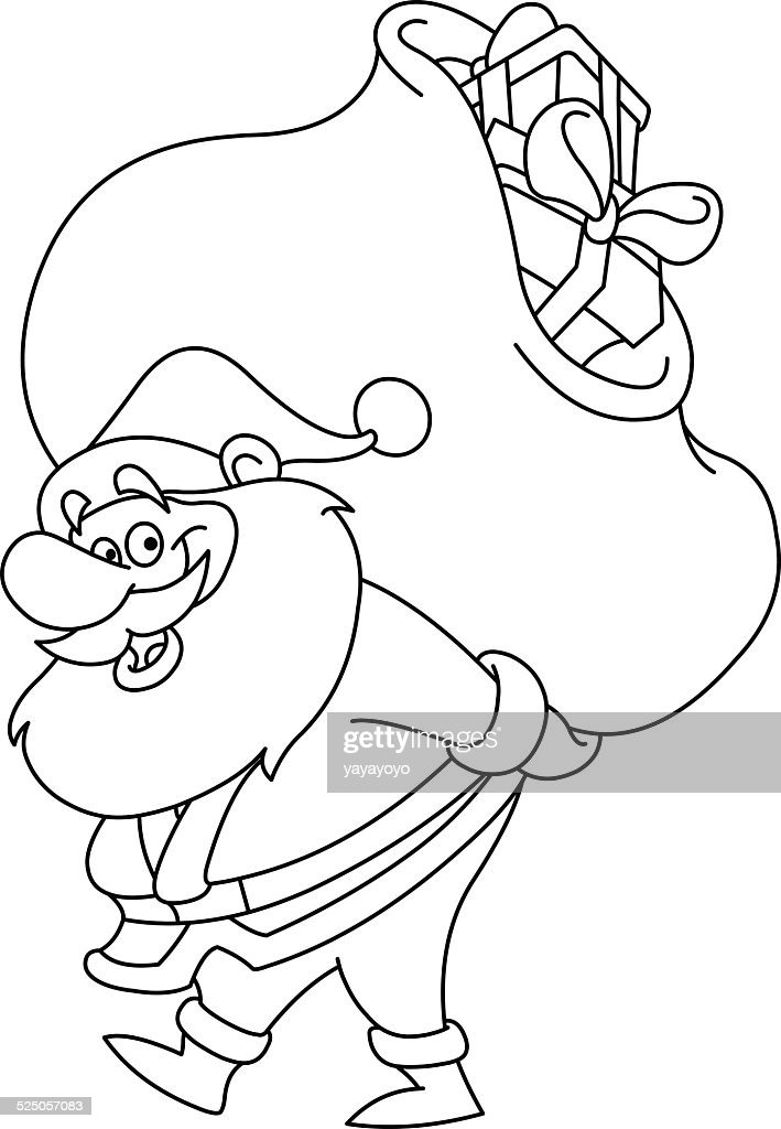 Outlined Santa with sack