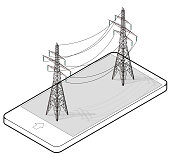 Outlined vector high voltage pylons in mobile phone, isometric perspective.