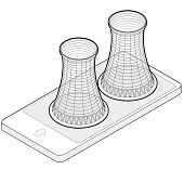 Outlined vector isometric cooling system of nuclear power plant in mobile phone.