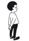 Outlines of a cartoonish shy boy