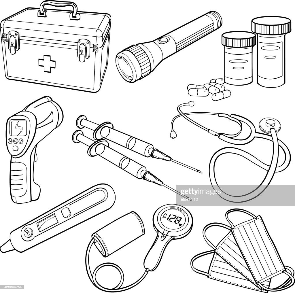 Outlines of medical supplies on a white background