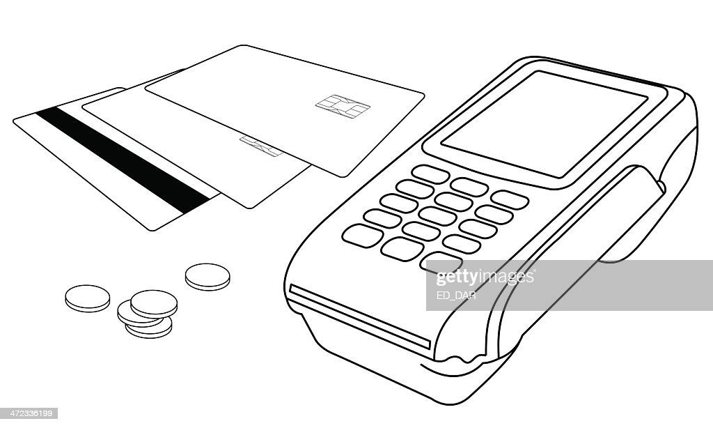 Outlines of POS terminal, credit cards and few coins