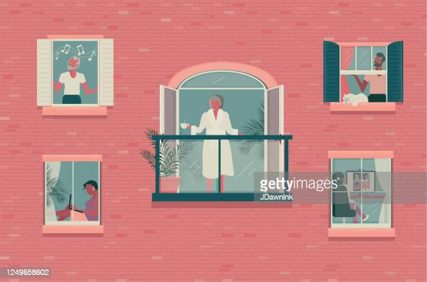 outside looking in concept - window stock illustrations
