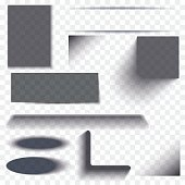Oval and box shadow set transparent with soft edges isolated on checkered background. Element for product design