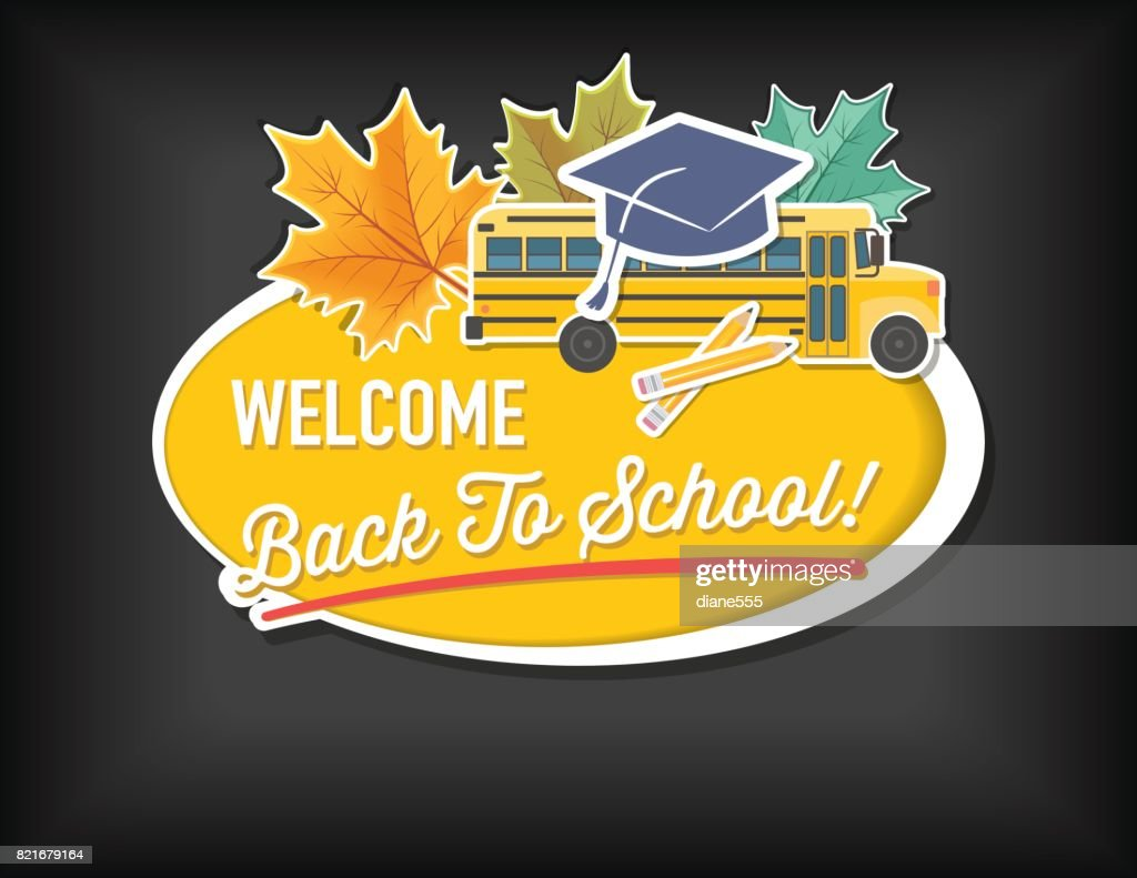 Oval Back To School Sticker With Icons And Text