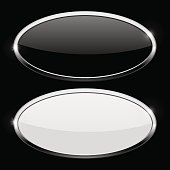 Oval button with chrome frame. Web icons on black background