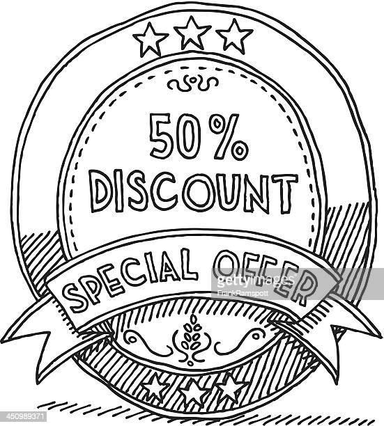 Ovale Label Band 50% Rabatt Angebot Zeichnung