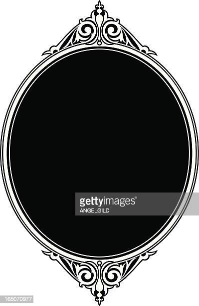 oval panel scroll design - gothic style stock illustrations, clip art, cartoons, & icons