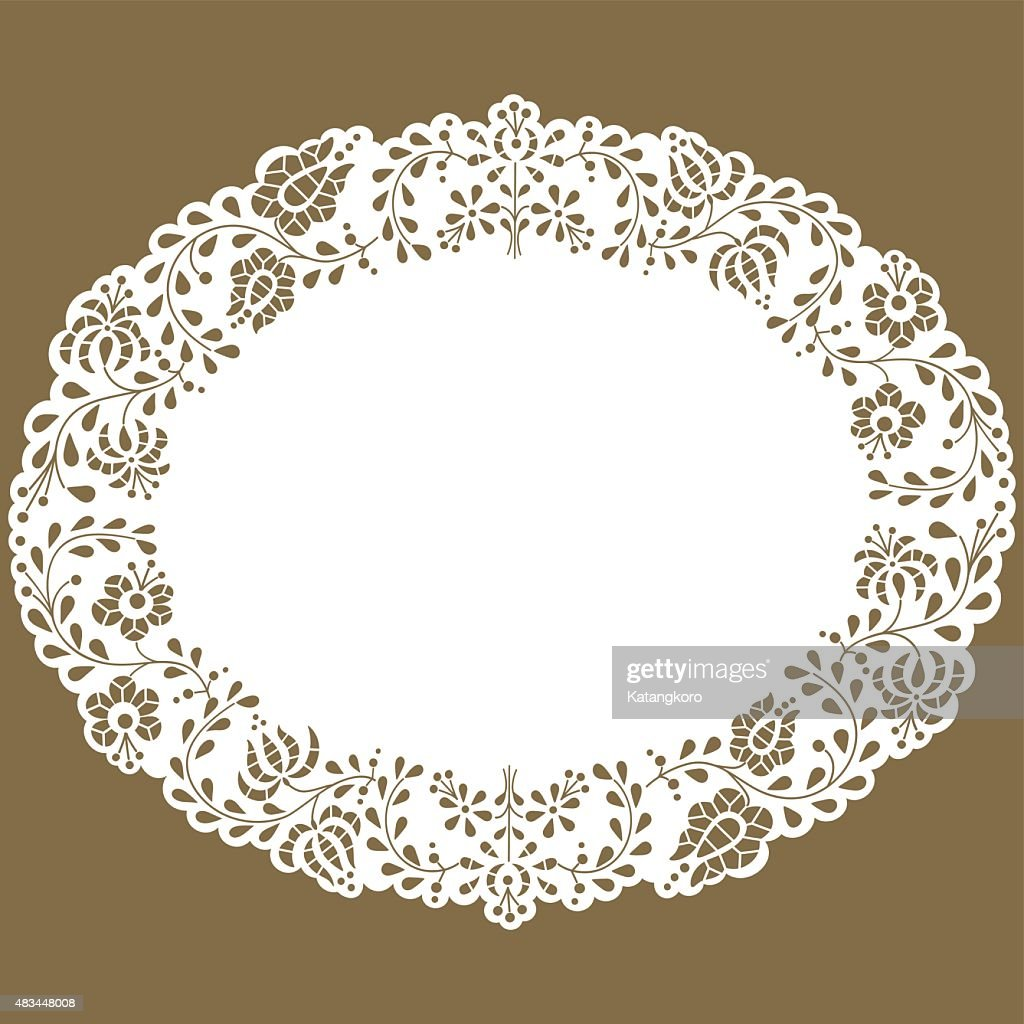 Oval paper lace edged doily