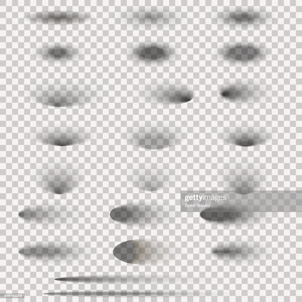 Oval shadow set isolated on transparent background. Vector illustration.