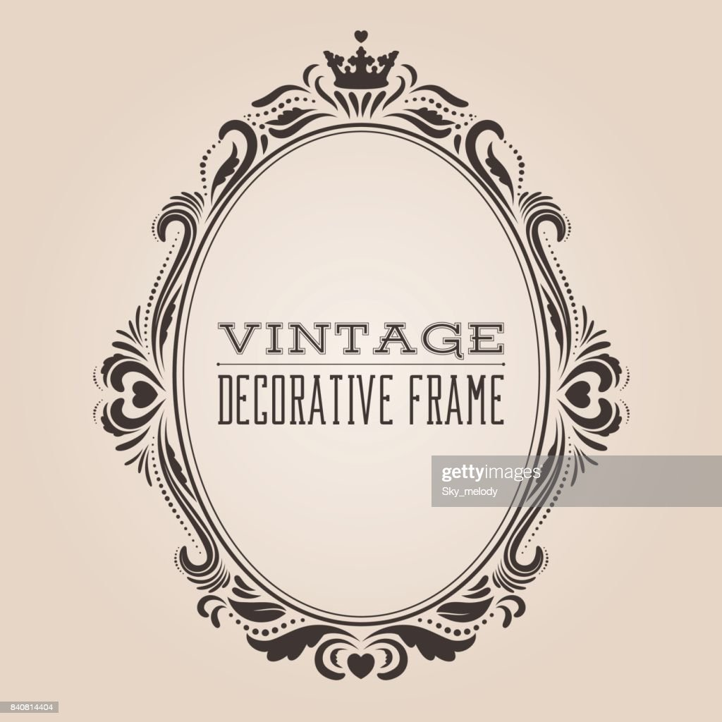 Oval vintage ornate border frame, victorian and royal baroque style decorative design
