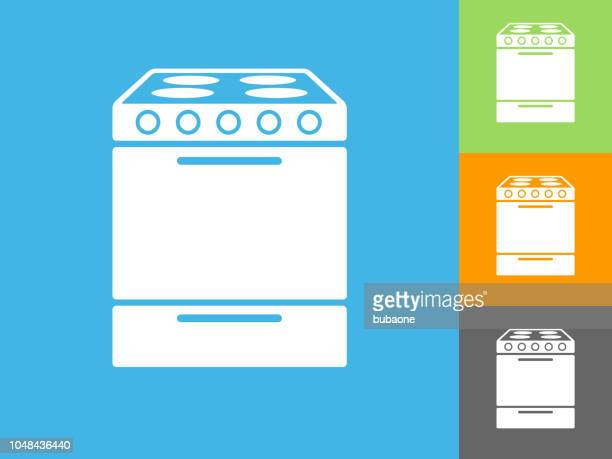 Oven  Flat Icon on Blue Background