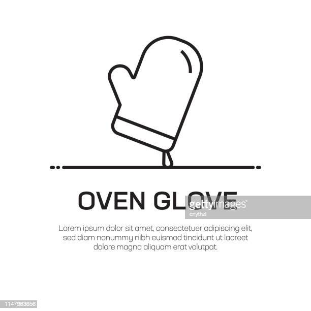 oven glove vector line icon - simple thin line icon, premium quality design element - protective workwear stock illustrations, clip art, cartoons, & icons