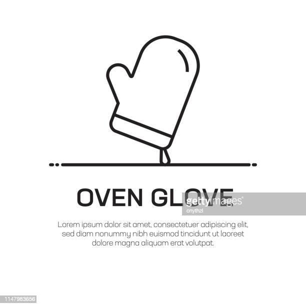 Oven Glove Vector Line Icon - Simple Thin Line Icon, Premium Quality Design Element