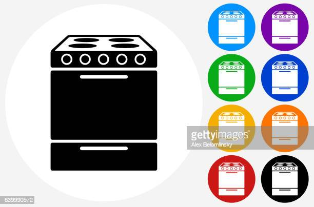 Oven Icon on Flat Color Circle Buttons