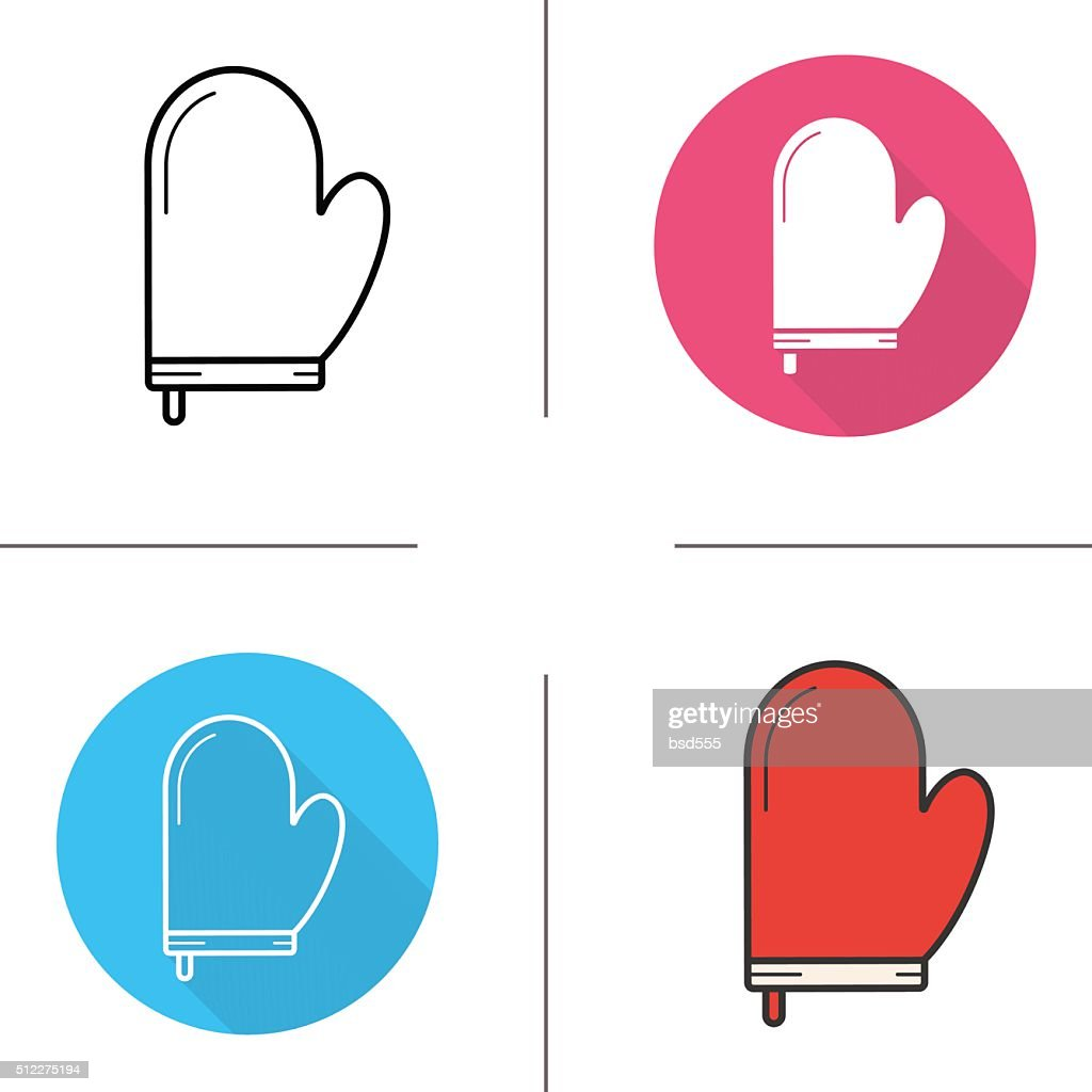Oven mitt glove icons