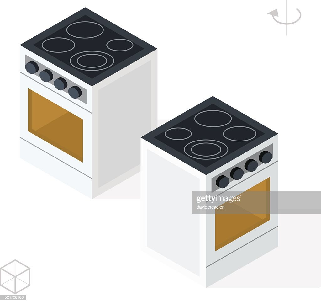 Oven with Shadows on White Background.