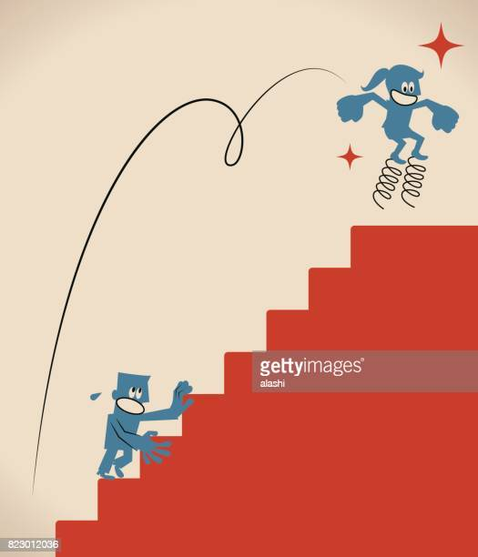 Over obstacles, smiling businesswoman (woman, girl) jumping higher with coiled spring, she has drawn ahead of her competitor