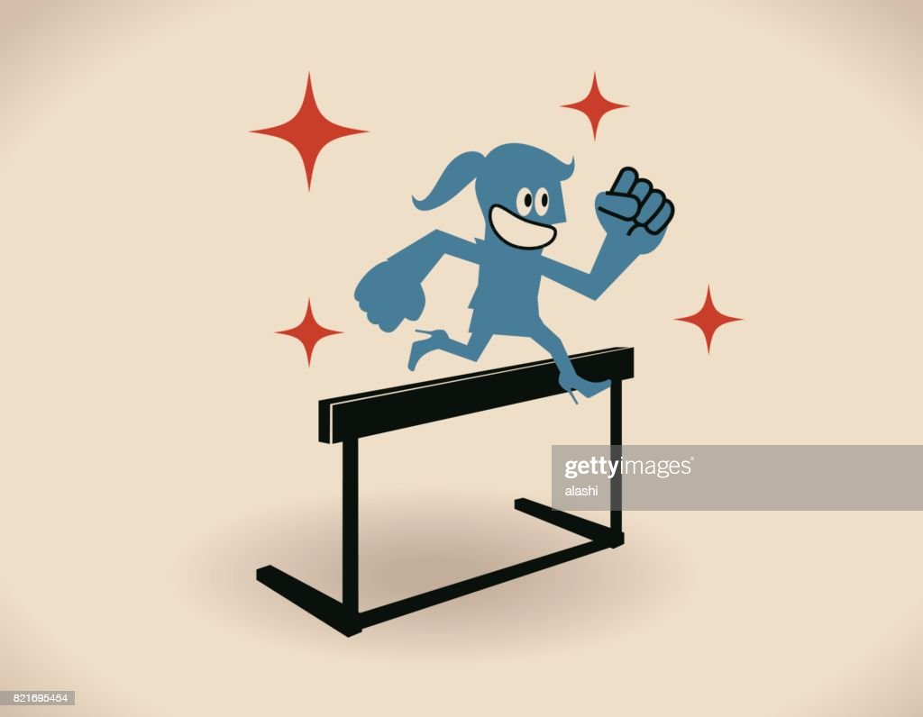 Over obstacles, smiling businesswoman (woman, girl, hurdler, athlete) jumping over hurdle : stock illustration