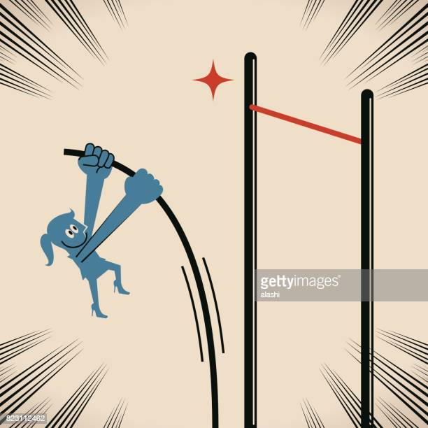 over obstacles, smiling confident businesswoman (woman, girl, athlete) doing the pole vault (pole-vaulting, jump, higher goal) - pole vault stock illustrations