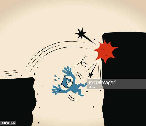 over-confident, businessman jumping off cliff (abyss) for higher level but failing - out of business stock illustrations, clip art, cartoons, & icons