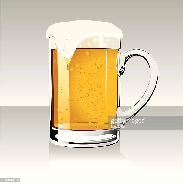 overflowing beer mug - beer glass stock illustrations, clip art, cartoons, & icons
