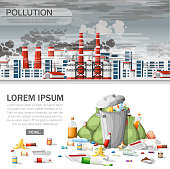 Overflowing trash can. Ecology problem, polluted air, environmental damage. Eco concept design for website or advertising. Vector illustration on white background