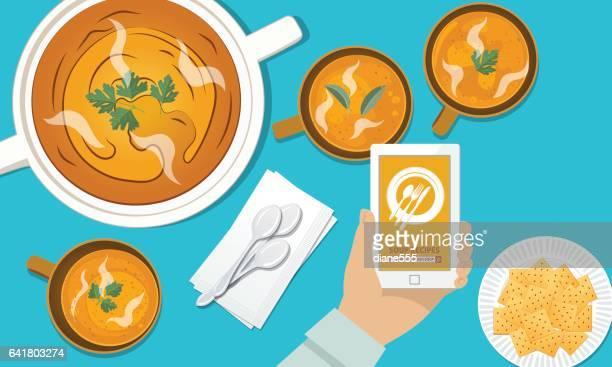 overhead angle of a person using apps online for cooking - cracker snack stock illustrations, clip art, cartoons, & icons