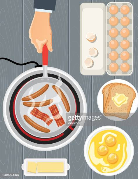 overhead angle of foods and cooking - breakfast - toast bread stock illustrations, clip art, cartoons, & icons
