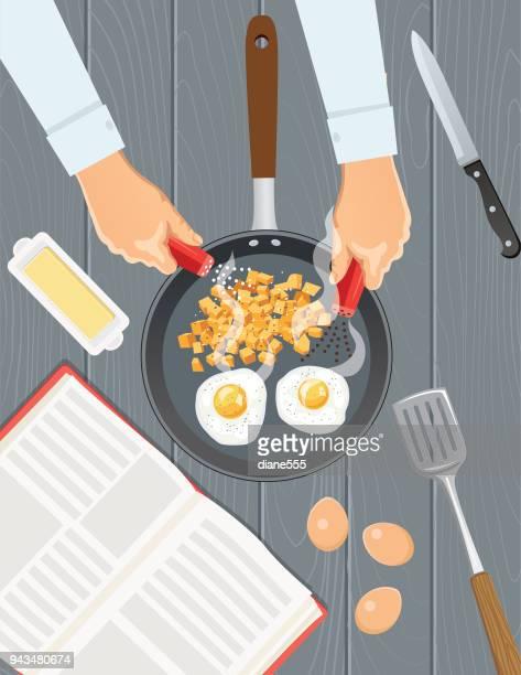 ilustrações de stock, clip art, desenhos animados e ícones de overhead angle of foods and cooking - breakfast - mesa cafe da manha