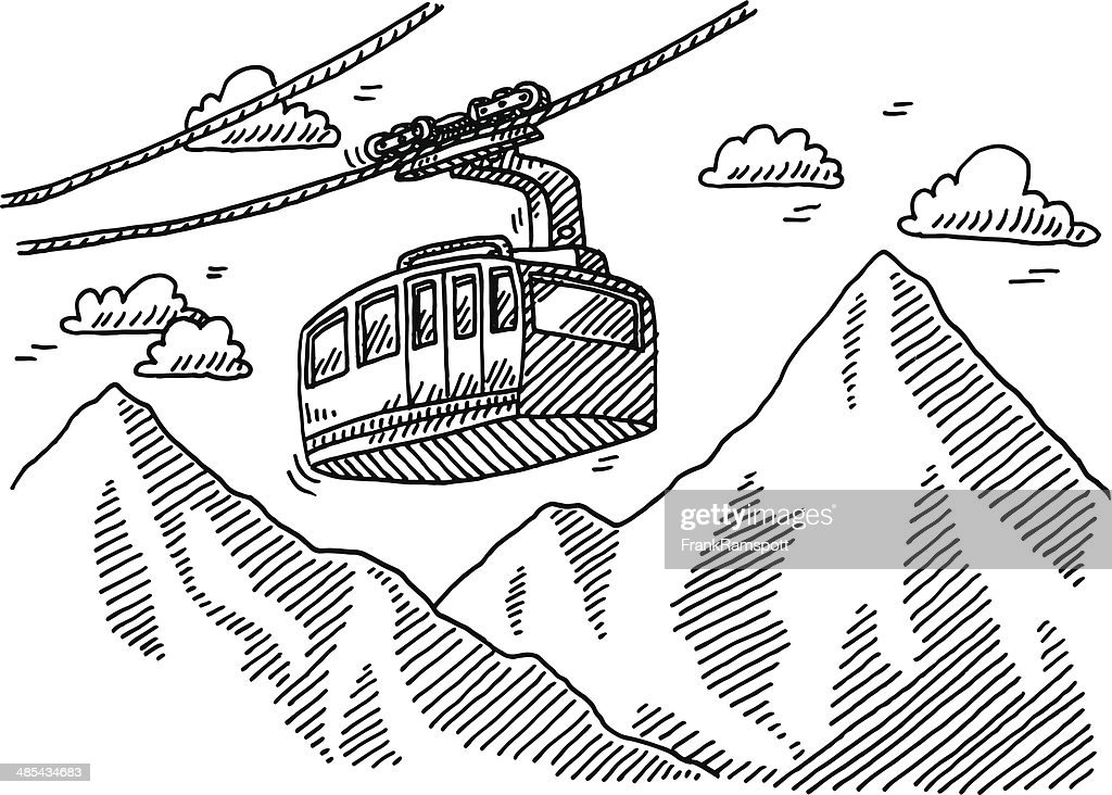 overhead cable car mountains drawing vector art