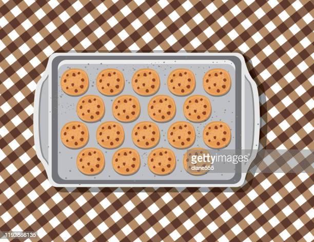 ベーキングシート上のオーバーヘッドクッキー - トレイ点のイラスト素材/クリップアート素材/マンガ素材/アイコン素材