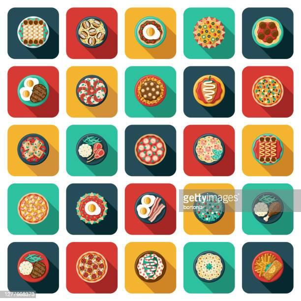 overhead-food-icon-set - speisen stock-grafiken, -clipart, -cartoons und -symbole
