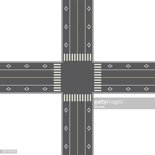 overhead perspective view of a 4-way traffic intersection - turn signal stock illustrations, clip art, cartoons, & icons