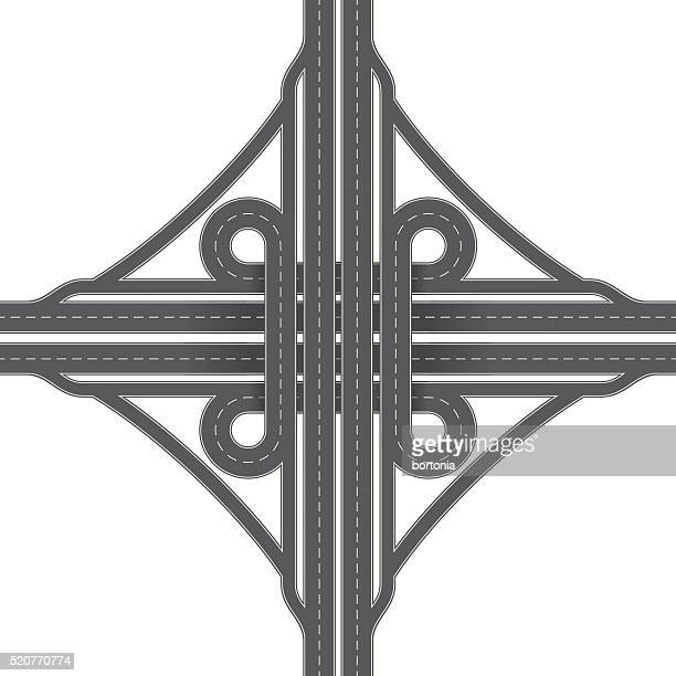 overhead perspective view of a cloverleaf traffic interchange - turn signal stock illustrations, clip art, cartoons, & icons