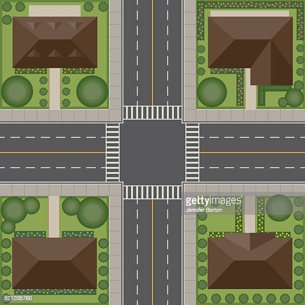 overhead perspective view of a residential traffic intersection - looking down stock illustrations, clip art, cartoons, & icons
