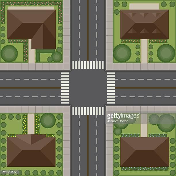 オーバヘッド視点の眺め住宅の交差点