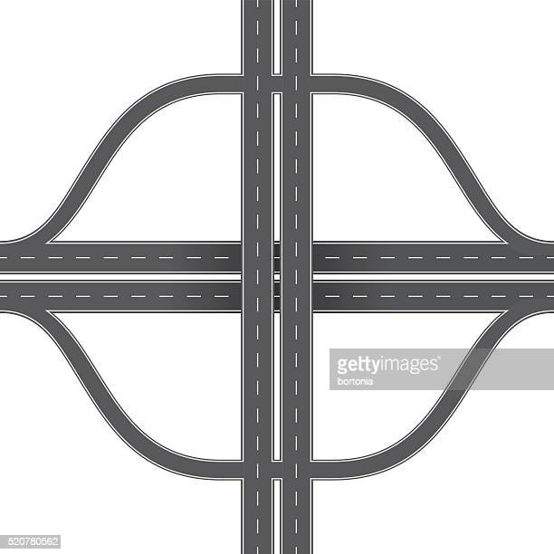 overhead perspective view of a traffic interchange - turn signal stock illustrations, clip art, cartoons, & icons