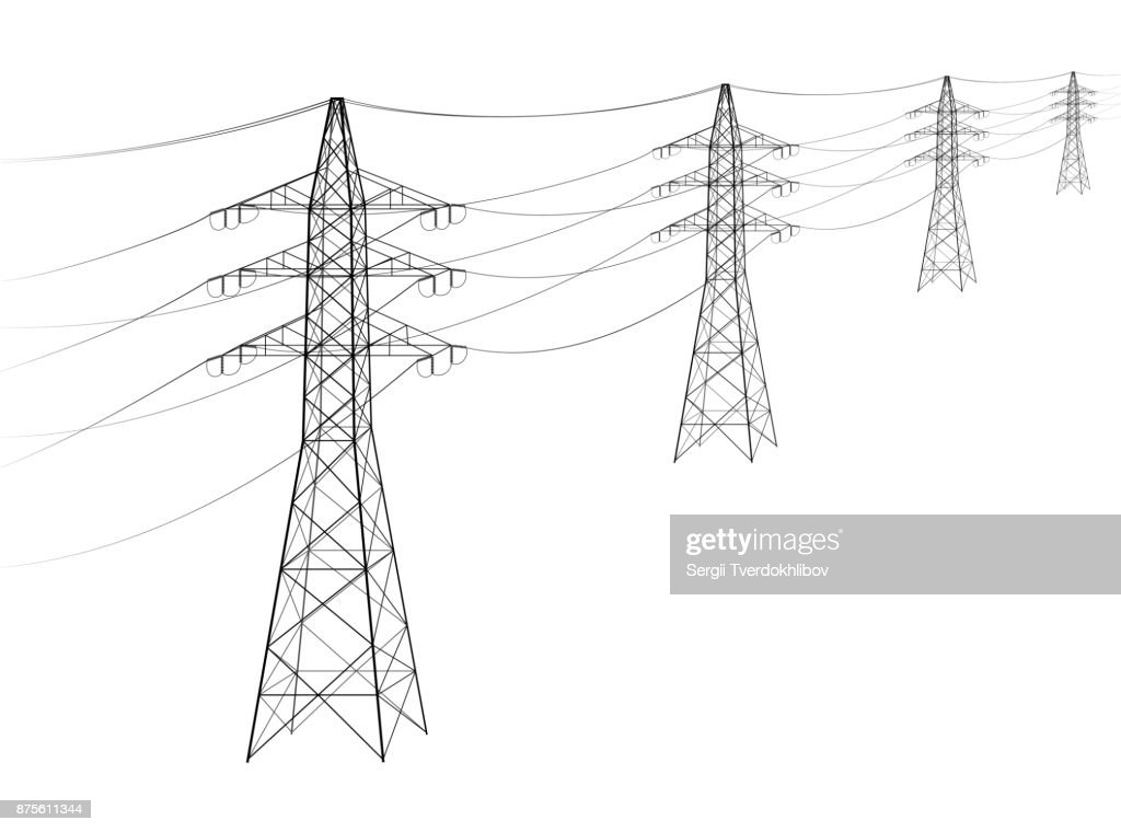 Overhead power line. A number of electro-eaves departing into the distance. Transmission and supply of electricity. Procurement for an article on the cost of electricity or construction of lines.