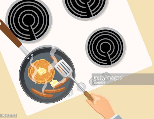 Overhead Stovetop Cooking with Pans and Food